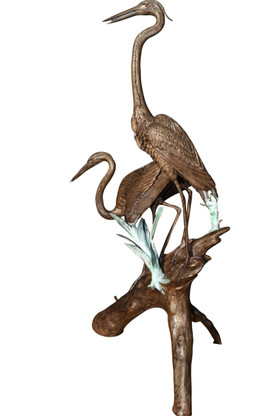 """Bronze Herons on a Log Fountain or Garden Statue, 81""""  Tall"""