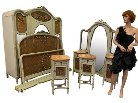 Antique French Painted Bedroom, Includes 5 pieces, 1900's