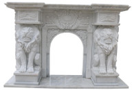 Hand Carved Marble Fireplace Mantel with Lions, Hunan White