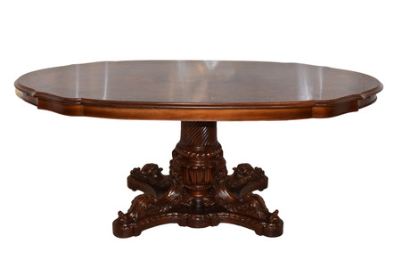 Vintage Italian Baroque Dining Table, Floral Inlays, 1950's