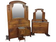 1920's Antique French Art Nouveau Four Piece Bedroom Set
