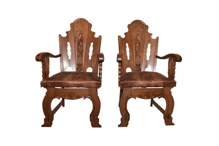Handsome Pair of  French Gothic Arm Chairs, Medieval Knight Carvings, 1950's