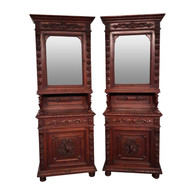 Matching Pair of French Antique Hunt Cabinet's, Narrow, 19th Century, Oak