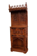 Ornate French Gothic Hooded Cabinet, 19th Century, Oak