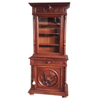 Antique French Hunt Cabinet, Carved Shore Bird, 19th Century, Oak