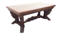 Striking Mythological Antique Gothic Dining Table, 1930's, Oak