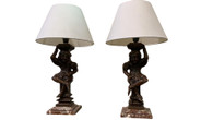 Unique Pair of French Gothic Jester Table Lamps, 19th Century Jesters