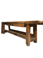 Large Rustic Work Bench, 10 Feet Long, Turn of Century
