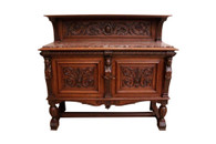 19th Century French Renaissance Server, Marble Top,  Oak