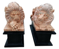Pair of  Sleeping Lions Hand Carved Marble, Sunset & Black Marble