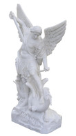 Hand Carved Marble Statue of  Saint Michael Slaying the Dragon, Religious