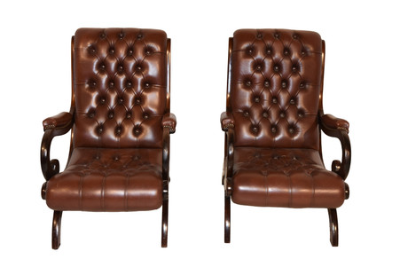 Attractive Pair Leather Arm Chairs, Tufted, Brown Leather, 1950's
