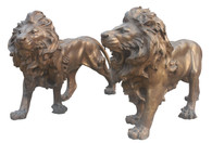 Stunning Pair of Bronze Lions, Garden Statues, Estate Entry