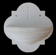 Hand Carved Marble Religious Holy Water Wall Fountain