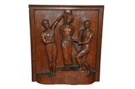 Antique French Oak Carved Wooden Panel of Saint Apolline, The Patron Saint of Dentistry