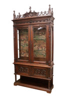 Nice Narrow French Gothic Display Cabinet, Glass Shelves, 19th Century, Oak,