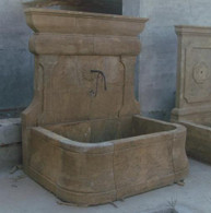 HAND CARVED SIMPLE TUSCAN STYLE MARBLE WALL FOUNTAIN, OLD WORLD FINISH Measures: 65 wide x 59 tall x 43.5 deep.