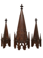 Antique French Gothic Architectural Pinnacles, Architectural, Oak