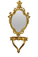 Vintage Italian Gold Mirror With Console, 1960's