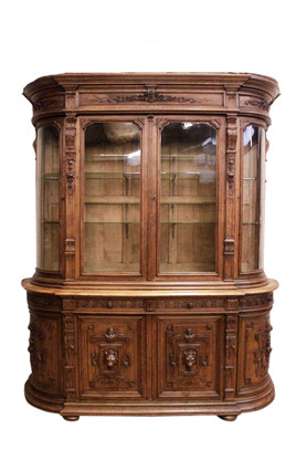 Monumental French Renaissance Bombe Bookcase, Display or China Cabinet, 19th Century, Oak