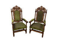 Showy French Hunt Arm Chairs, Barley Twist, Dragon Carvings, Oak, 19th Century