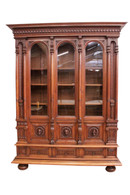 Great Quality, Antique French Renaissance Office Bookcase, 19th Century, Walnut