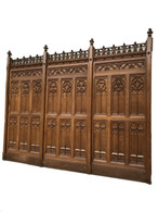 SOLD Antique Paneling - Large Lot of French Gothic  Paneling Architectural Over 70 feet, 19th Century, Oak
