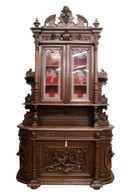 Large Antique French Hunt Cabinet, Etched Glass, Oak, 19th Century