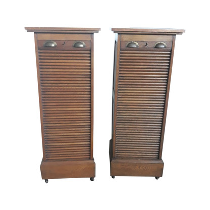 Antique French Oak Office File Cabinets, Matching Pair, 1920's