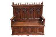 Handsome French Gothic Bench, Walnut, 19th Century Antique