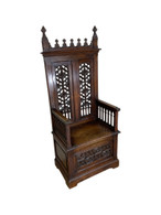 Antique French Gothic Throne Chair, Oak, 19th Century, Religious