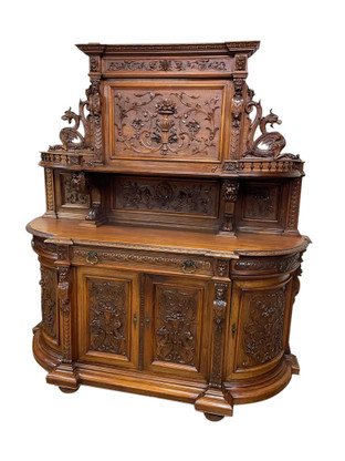 Exceptional Quality Antique French Hunt Server, Sideboard, Oak, 19th Century