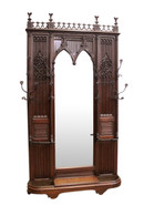 Remarkable French Gothic Hall Stand - Hall Tree with Mirror,  Architectural, Tall, Oak, 19th Century