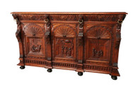 Antique 1920's European Server/Sideboard/Buffet, Oak, Belgian