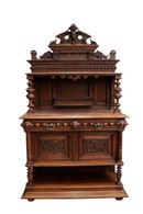 Elegant French Walnut ServerSideboard, Marble Top, 19th  Century