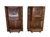 Striking Pair of Matching  French Renaissance Cabinets, 19th Century, Oak