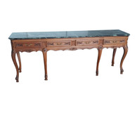 Vintage French Provincial Console Table, Marble Top, Long, 1940's, Oak