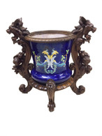 Antique Italian Majolica Cachepot in a Gueret Fres.Frame, 19th Century, Oak
