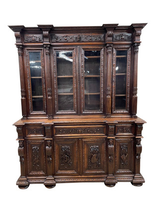 Special French Renaissance Bookcase with Desk, Oak, 19th Century