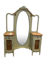Antique French  Painted Triple Mirror Dressing Table, Marble Top, 1920's