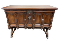 Antique French Gothic Server/Sideboard, Walnut, 19th Century, Marble Work Surface