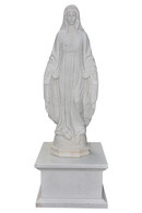 """Hand Carved Mary Lady of Grace Marble Statue with Pedestal, 78"""" Tall, Religious #10886"""