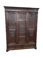 Lovely Antique French Gothic Storage Cabinet  Armoire, 19th Century, Oak