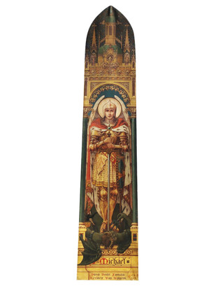 Rare Oil  on Canvas Painting of  St. Michael, 12 Foot  Tall, Vibrant, 19th Century, Religious #11488