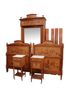 Fantastic Vintage French Art Nouveau Bedroom, Beds, Nightstands, Mirrored Armoire, 1930's #11399