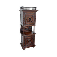 Heavily Carved Antique French Breton Cabinet, Oak, 1900's, #11570