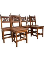 Charming & Decorative Antique French Gothic Chairs, Set of Six, 1920's, Oak, #115586 Gothic Chairs