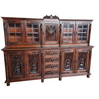 Showy Antique French Gothic Cabinet, Medieval Carvings, 1920's, Oak, #11563