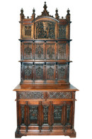 Monumental Antique French Gothic Cabinet, Impressive Carvings, Oak, 19th Century, Tall, Medieval