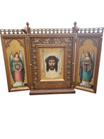 Large Fantastic 19th Century Triptych with Religious Paintings, Oil on Copper, Church Art